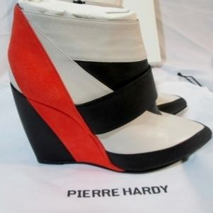 NEW PIERRE HARDY Suede SATIN Calf WEDGE Bootie